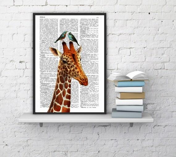 Summer Sale honeymoon giraffe ,DECORATIVE art, , GIRAFFE Print, Giraffe decor, Giraffe Wall, Wall Decor, Giraffe Painting ANI006b