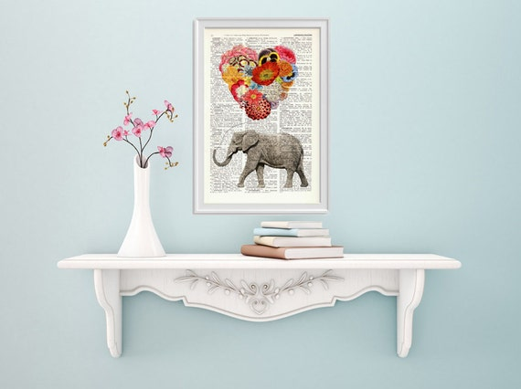 gift Elephant with a heart shaped balloon of Flowers print- Nursery art, dictionary art, gift her, art print BPAN102b