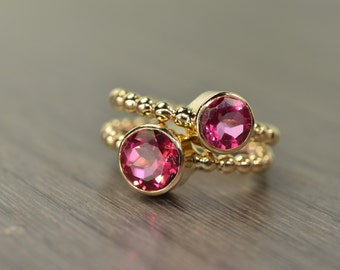 Pink Topaz Stack Rings, silver 14k gold duo stacking stackable jewelry - Carmine Rings