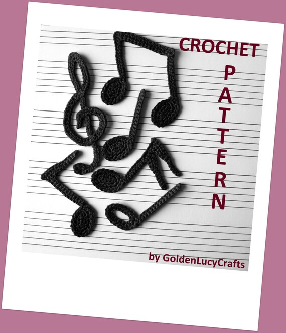 Free Crochet Patterns For Music Notes : Musical Notes Crochet Pattern Applique Quarter Note Eighth