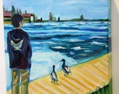 "Ice on Lake Superior with Mallard Ducks, Original Painting on Canvas, 10"" x 10"" x 1-1/2"" Michigan Landscape"