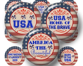 AMERICA THE BEAUTIFUL, Bottle Cap Images, Digital Collage Sheet, 1 Inch Circles, July 4th, Patriotic, Vintage Flag, Americana (No.1)