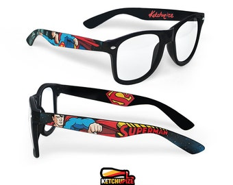 Superman Wayfarer glasses Unique birthday gift men women friend gift custom Prescription painted geek comic clear lens nerd red superhero