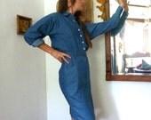 SALE--20% OFF Listing Price--1980s Denim Business Dress size 6, size 4,  long sleeve, button down, Vintage Liz Claiborne
