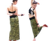 Long stretch  skirt, maxi skirt in animal print, green and black pencil velvet skirt, made to order in S M L