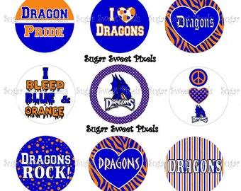 INSTANT DOWNLOAD Dragons Blue  orange School Mascot 1 inch circle Bottlecap Images