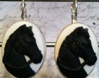 Earrings with a Black Horse on a White Cameo on Lever Back Hooks