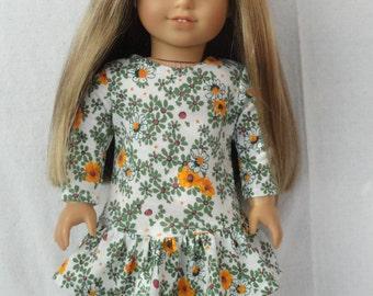 18 Inch Doll/American Girl drop waist ruffle dress-Retro Flowers