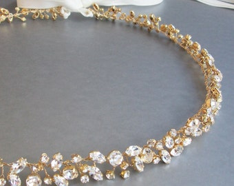 Bridal belt sash, Skinny bridal belt sash, Crystal wedding belt, Floating crystal belt, Sparkly crystal belt, Crystal belt in gold or silver