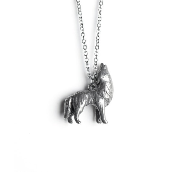 Howling Wolf Necklace - February / March Birth Totem Jewelry - Pisces
