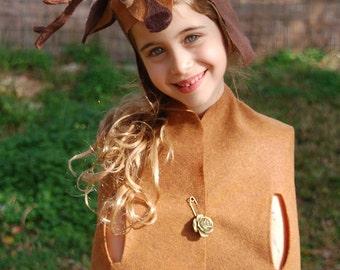 Deer Head Hat ,Deer  Antler , Woodland Kids Dress Up ,Deer Costume , Felted Bambi Costume