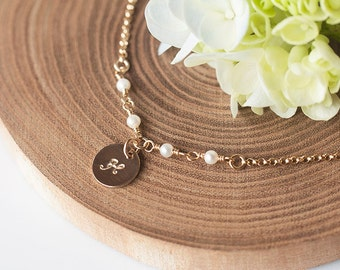 Freshwater Pearl Necklace, Initial Necklace, Pearl Gold Necklace, Bridesmaid Gift, Romantic Weddings, Gold Initial Necklace, Bridal party