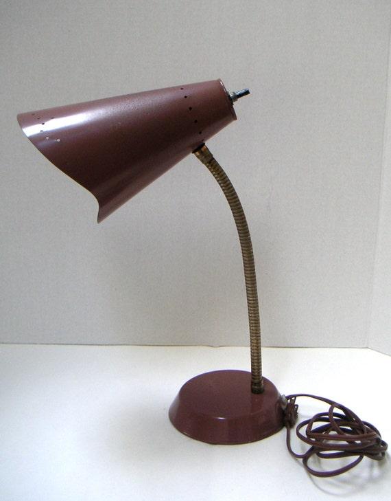 vintage mid century desk lamp metal adjustable brown retro home. Black Bedroom Furniture Sets. Home Design Ideas