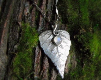Silver Birch Leaf Necklace With Moonstone - Made With a Real Leaf - Elven -  Woodland - Silvan Leaf - Artisan Handcrafted Silver - Forest