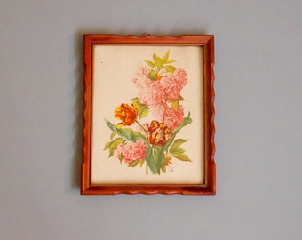 vintage floral bouquet framed picture