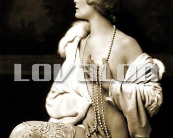 MATURE... Pearls & Sequins... Deluxe Erotic Art Print... Vintage Nude Glamour Photo... Available In Various Sizes