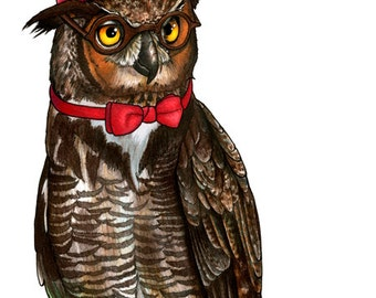 Dr Who Owl in a Fez and Bow Tie - A4 print