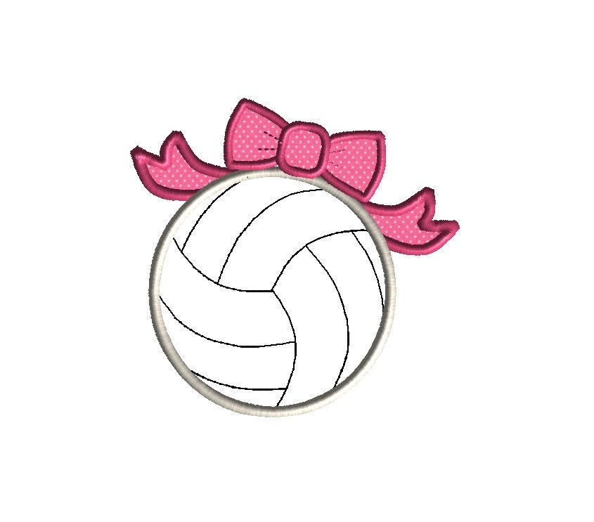 Volleyball with bow applique machine embroidery design instant