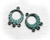 Earring connectors, green patina on copper, Hoop for dangle earrings, greek beads, 3 loop, jewelry making - 22mm - 2Pc - F134