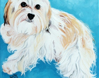 Dog portrait, custom pet painting on a 8x10 canvas from your photo