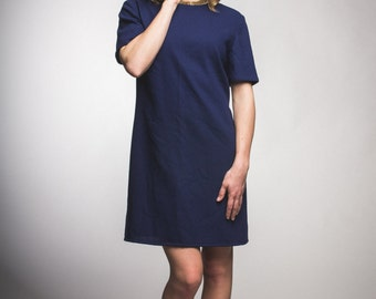 Upcycled vintage wool dress / womens / navy / short sleeve / small / medium