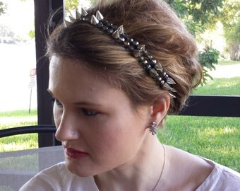 Gray Crystal Silver Metal Spike Beaded Elastic Headband, for weddings, parties, evening, special occasions