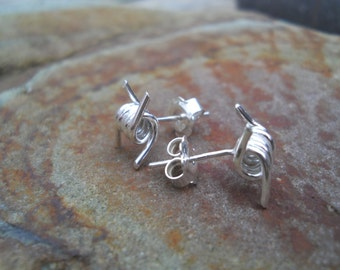 Sterling silver barbed wire stud earrings