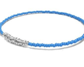 Seed Bead Bracelet // Blue Silver Beaded Bangle Bracelet // Eco-Friendly Bridesmaid Gift // Friendship Bracelet // Recycled Jewelry / Sister