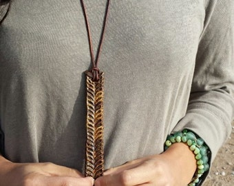 Brown Porcelain Feather Pendant Necklace - Rustic Found Talisman Jewelry