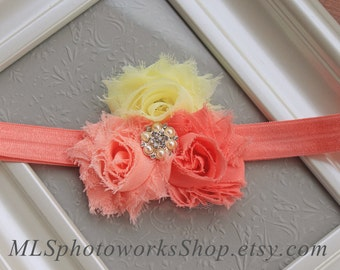 The Peach-Coral Lemonade Headband - Baby Girl Hair Bow in Light Yellow, Peach and Coral - Bright Baby Flower Headbands for Spring & Summer