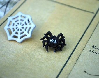 Spider Earrings -- Black Spider and Spider Web Studs, Spider Studs, Halloween