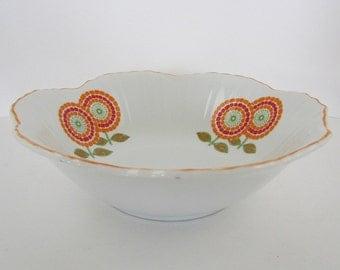 Bowl White Orange Red Flower Mosaic Design Holds 3 1/2 Cups