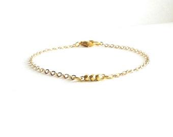 Simple Gold Bracelet with Gold Nuggets, Gold Minimal Bracelet, Delicate Gold Bracelet, Thin Gold Bracelet, Everyday Bracelet, Gift Under 20
