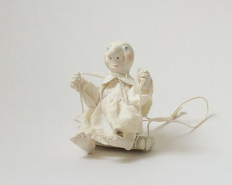 OOAK Polymer Clay Doll - Angel on a Swing (4 inches)