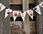Farm Cowboy Birthday Decoration / Burlap Name Banner / Cow Print Banner