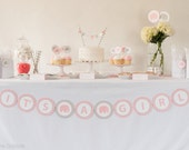 IT'S A GIRL Baby Shower Banner, Baby Girl Shower, Girl Shower Decor, Elephant Baby Shower
