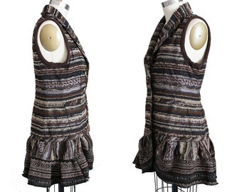 Bohemian Vest in Earthy Brown Pattern, Shawl Collar Upcycled Recycled Sleeveless Top Small