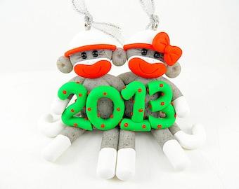 Sock Monkey Couple Christmas Ornament Polymer Clay