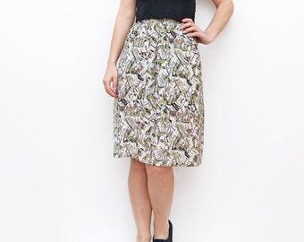 Vintage mid length high waist skirt // Italian french designers