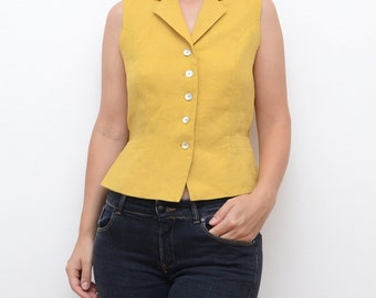Vintage mustard yellow women 90s linen vest / small