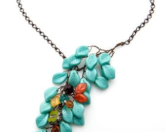 Blue Turquoise Asymmetric Necklace, Blue Beaded Necklace, Leaf Necklace,  Fall Jewelry, Statement Jewelry