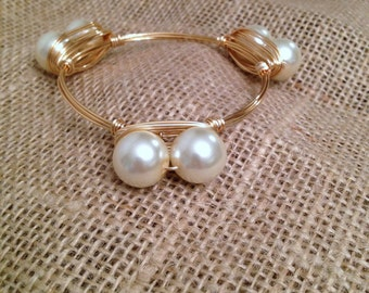 LARGE Pearl Bangle Wire Wrapped Ivory Double Pearl Bead Bauble - The Ravenel
