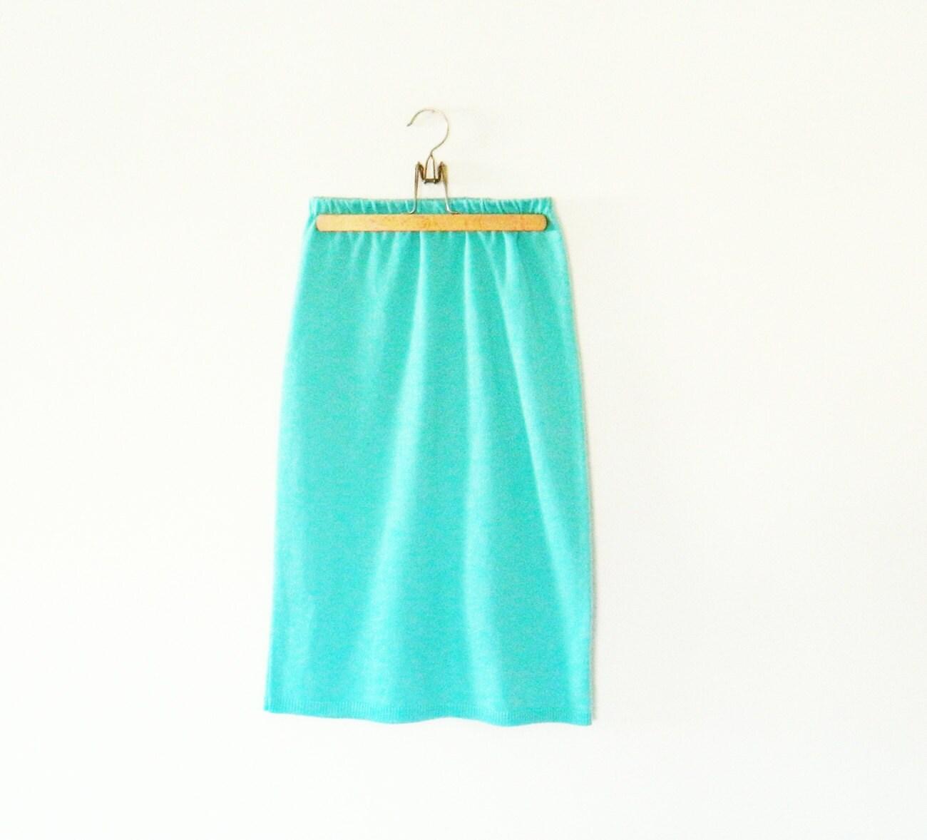 mint green vintage knit sweater skirt cozy knit pencil skirt