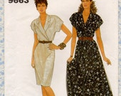 Simplicity 9663 EASY OnePiece Dress in 2 lengths, Straight or Flared Skirt Vintage Sewing Pattern Full Figure Bust 32 to 42 UNCUT