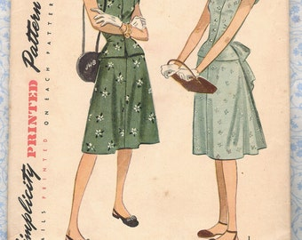 1940s Simplicity 1937 Juniors 2 piece Dress w/ Sweetheart Neckline Easy Vintage Sewing Pattern Size 14 Bust 32 Complete