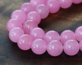 Dyed Jade Beads, Semi-transparent Rose Pink, 10mm Round - 15 inch strand - eSJR-P05-10