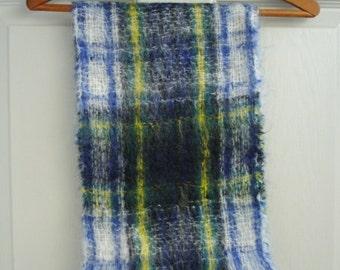 Mohair Scarf - Plaid Wool Scarf - Green, Blue & White Tartan
