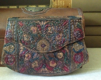 Tooled Leather Handbag Clutch Wallet, Made in Italy 1930, Stunning Floral Design Incredible Condition
