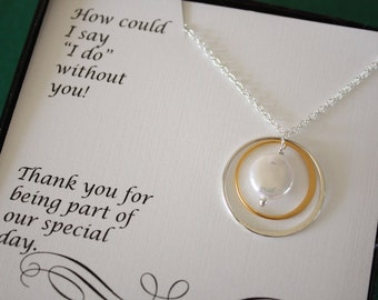 2 Bridesmaid Necklaces, Bridesmaid Gifts, Infinite Friendship, Thank You Card, White Pearl, Silver & Gold Necklace, Karma