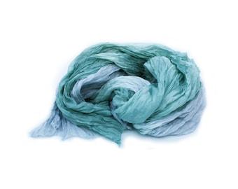 green silk scarf - Hemlock Song - green, grey, paloma, hemlock silk ruffled scarf.